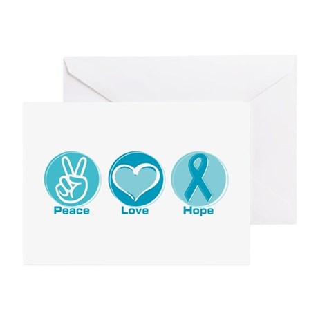Peace Love Teal Hope Greeting Cards (Pk of 20)