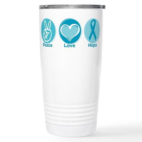 Peace Love Teal Hope Stainless Steel Travel Mug
