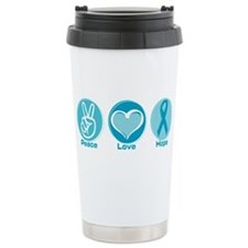 Peace Love Teal Hope Travel Mug