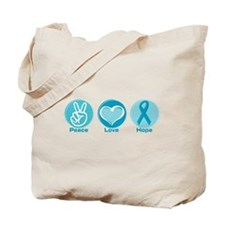 Peace Love Teal Hope Tote Bag