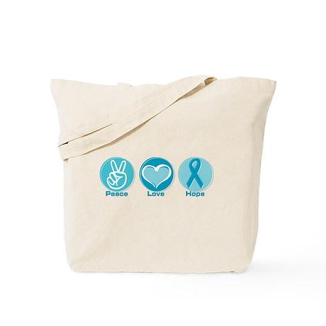 Peace Love Teal Hope Tote Bag