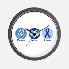 Peace Love Blue Hope Wall Clock