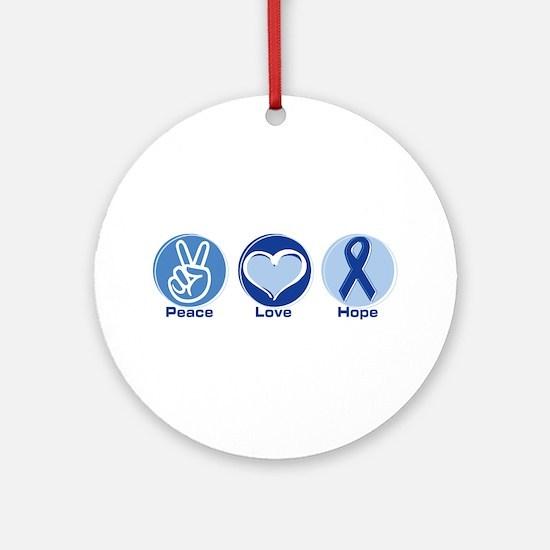 Peace Love Blue Hope Ornament (Round)