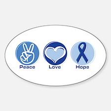 Peace Love Blue Hope Oval Decal