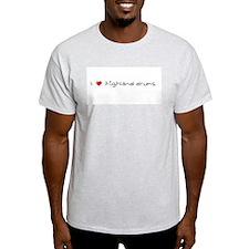 I Heart Highland Drums Ash Grey T-Shirt