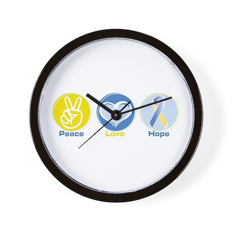 Peace Love BlueYellow Hope Wall Clock