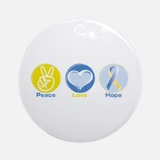 Peace Love BlueYellow Hope Ornament (Round)