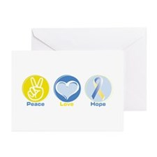 Peace Love BlueYellow Hope Greeting Cards (Pk of 2