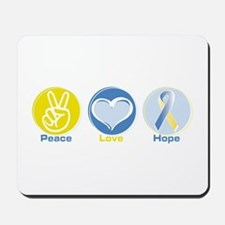 Peace Love BlueYellow Hope Mousepad
