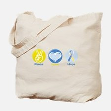 Peace Love BlueYellow Hope Tote Bag