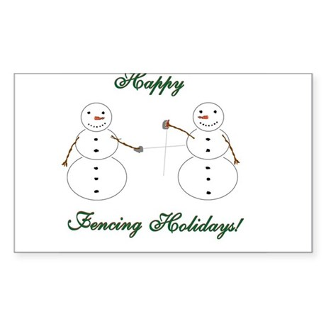 Fencing Holiday Rectangle Sticker 50 pk)