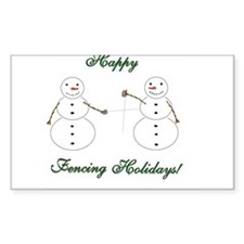 Fencing Holiday Rectangle Sticker 10 pk)