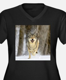Cute Timber wolf Women's Plus Size V-Neck Dark T-Shirt