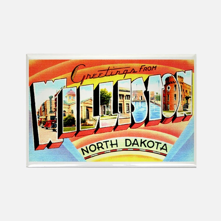 Williston North Dakota Greetings Rectangle Magnet