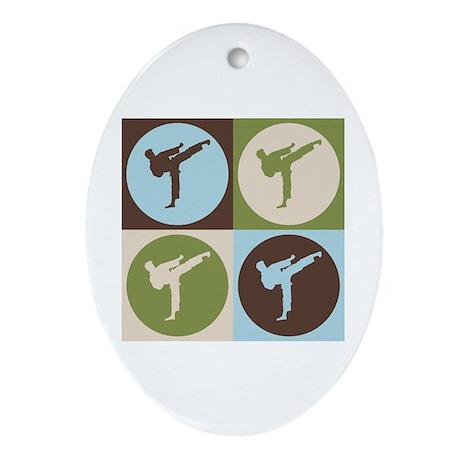 Karate Pop Art Oval Ornament