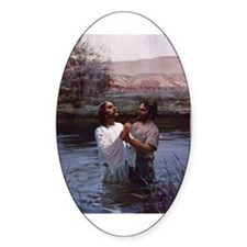 Jesus Baptism River Jordan Oval Decal