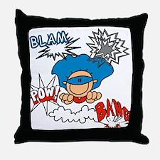 Blam Pow Super Boy Throw Pillow