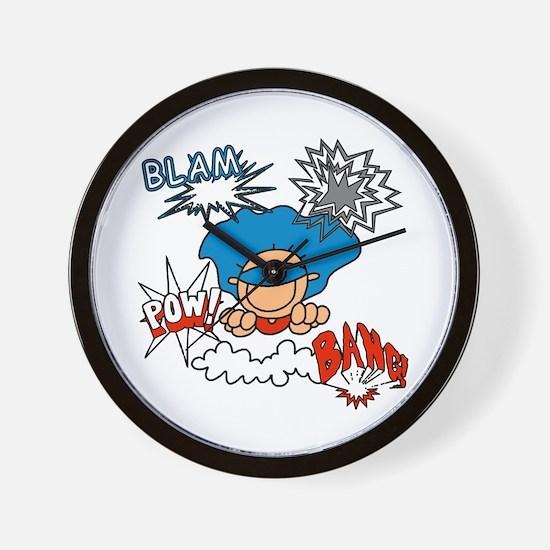 Blam Pow Super Boy Wall Clock