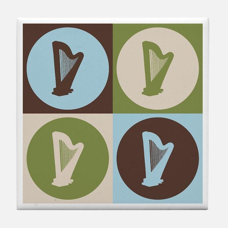 Harp Pop Art Tile Coaster