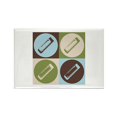 Harmonica Pop Art Rectangle Magnet (100 pack)