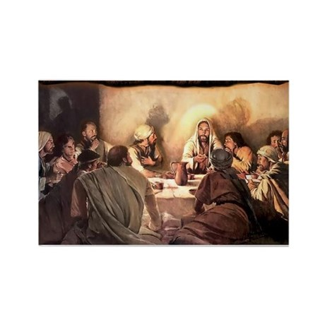 Jesus Eats with Disciples Rectangle Magnet