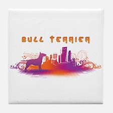 """""""City"""" Bull Terrier Tile Coaster"""