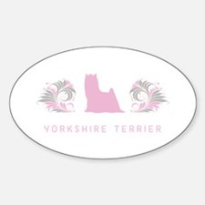 """Elegant"" Yorkshire Terrier Oval Decal"