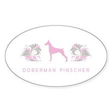 """""""Elegant"""" Doberman Pinscher Oval Decal"""