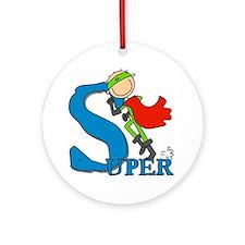 Super Stick Figure Hero Ornament (Round)