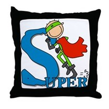 Super Stick Figure Hero Throw Pillow