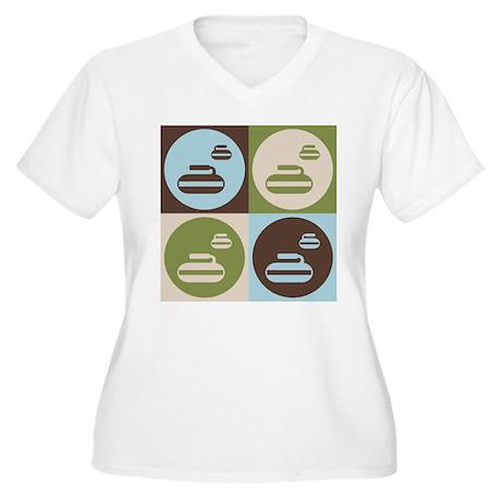 Curling Pop Art Women's Plus Size V-Neck T-Shirt