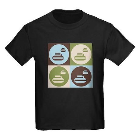 Curling Pop Art Kids Dark T-Shirt