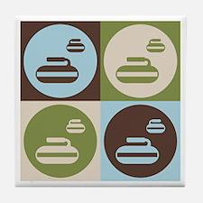 Curling Pop Art Tile Coaster