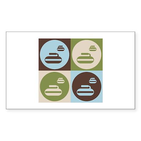 Curling Pop Art Rectangle Sticker