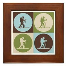 Cross Country Skiing Pop Art Framed Tile