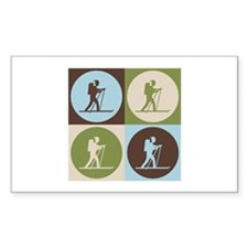 Cross Country Skiing Pop Art Rectangle Decal