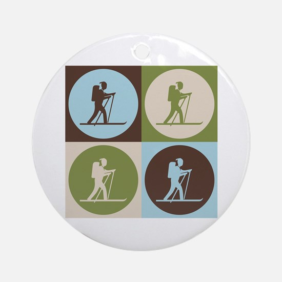Cross Country Skiing Pop Art Ornament (Round)