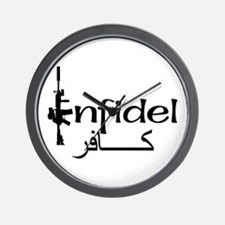 English Arabic Infidel Wall Clock