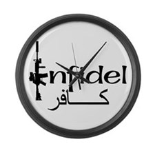 English Arabic Infidel Large Wall Clock