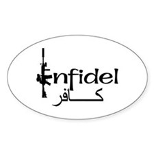 English Arabic Infidel Oval Decal