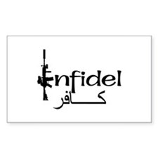English Arabic Infidel Rectangle Decal