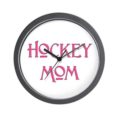 Hockey Mom pink text Wall Clock