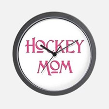 Hockey Mom pink text Wall Clock