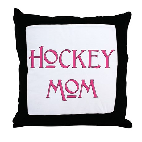 Hockey Mom pink text Throw Pillow