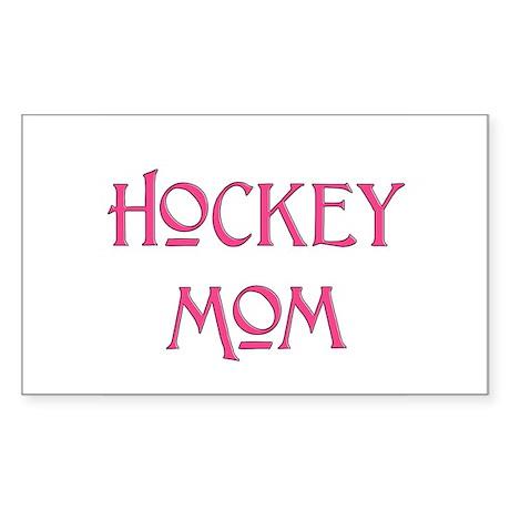 Hockey Mom pink text Rectangle Sticker