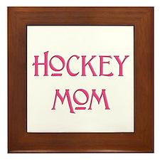 Hockey Mom pink text Framed Tile