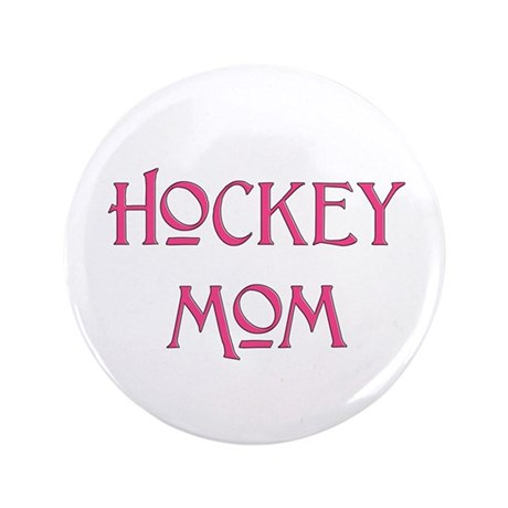 """Hockey Mom pink text 3.5"""" Button (100 pack)"""