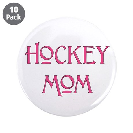 """Hockey Mom pink text 3.5"""" Button (10 pack)"""