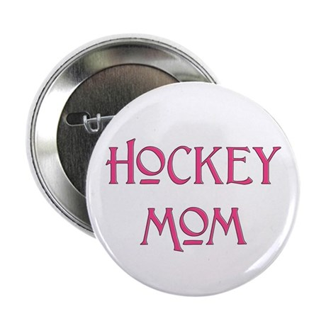 "Hockey Mom pink text 2.25"" Button (100 pack)"