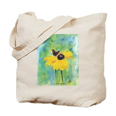Bea's Butterfly on Black-Eyed Tote Bag